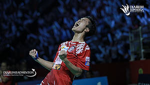 Selebrasi Anthony Sinisuka Ginting (Indonesia).