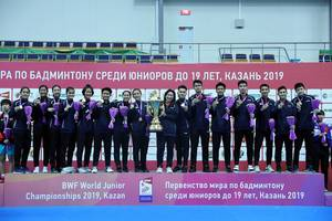 Tim junior Indonesia saat merebut Piala Suhandinata pada World Junior Championships 2019 di Kazan, Rusia.