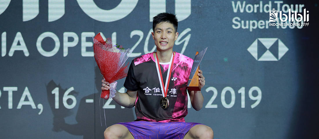 Chou Tien Chen (Taiwan) the winner of the Men's Singles event of Blibli Indonesia Open 2019.