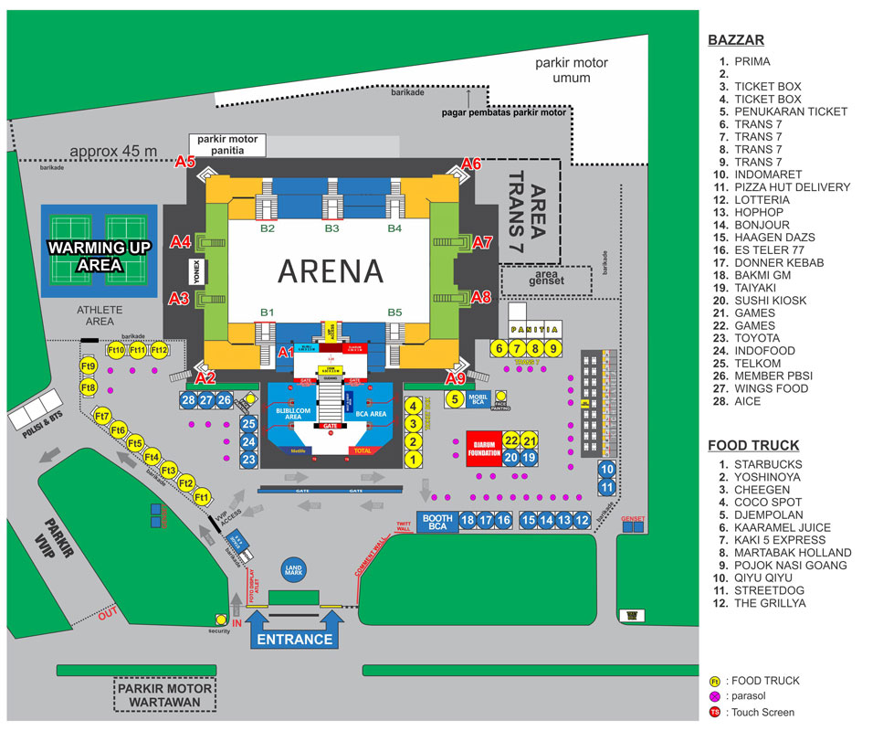 Map Venue BCA Indonesia Open Superseries 2016