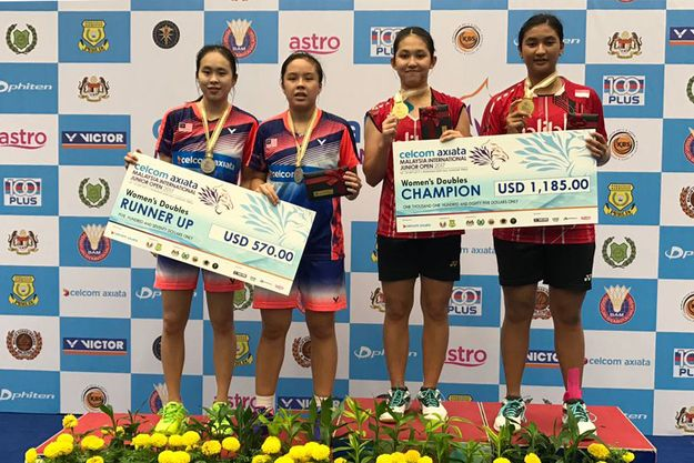 Podium Ganda Putri Malaysia International Junior Open 2017. (Foto: PBSI)