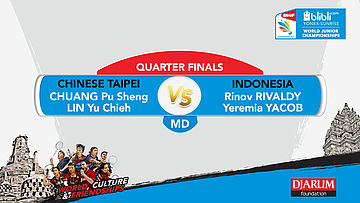 WORLD JUNIOR CHAMPIONSHIPS 2017 | MD QUARTER FINALS | CHUANG/LIN (TPE) vs RIVALDY/YACOB (INA)