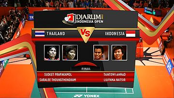 Sudket Prapakamol/ Saralee Thoungthongkam (Thailand) VS Tantowi Ahmad/ Liliyana Natsir (Indonesia) Final Mixed Double DJARUM Indonesia Open Super Series Premier 2012