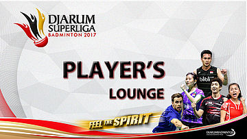 Berry Angriawan at Player's Lounge Djarum Superliga Badminton 2017